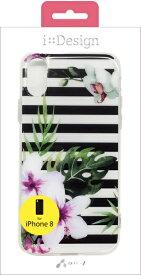エアージェイ air-J iPhone X用 ハード型花柄プリントケース ブラック ACP8FGBBK