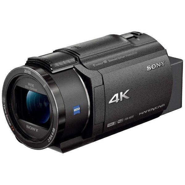 【送料無料】 ソニー SONY メモリースティック/SD対応 64GBメモリー内蔵 4Kビデオカメラ(ブラック) FDR-AX45(B)[FDRAX45B]