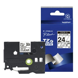 ブラザー brother 【ブラザー純正】ピータッチ ラミネートテープ TZe-M51 幅24mm (黒文字/透明/つや消し) TZe TAPE 透明 (つや消し) TZe-M51 [黒文字 /24mm幅]