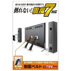 エレコム ELECOM TV用耐震ベルト [~75V用 /強力粘着シールタイプ /2本入り] TS-002N2