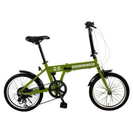 ハマー HUMMER 18型 折りたたみ自転車 HUMMER FDB186 IW-III(マットグリーン/6段変速) FDB186IW3【組立商品につき返品不可】 【代金引換配送不可】
