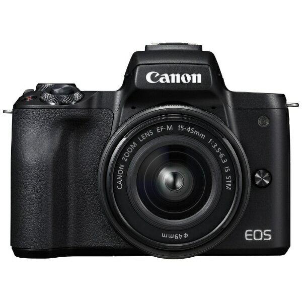 【送料無料】 キヤノン CANON EOS Kiss M【EF-M15-45 IS STM レンズキット】(ブラック/ミラーレス一眼カメラ)[EOSKISSMBK1545ISLK]