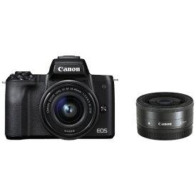 キヤノン CANON EOS Kiss M ミラーレス一眼カメラ ブラック [ズームレンズ+単焦点レンズ][EOSKISSMBKWLK]