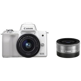 キヤノン CANON EOS Kiss M ミラーレス一眼カメラ ホワイト [ズームレンズ+単焦点レンズ][EOSKISSMWHWLK]