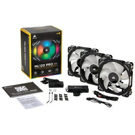 CORSAIR コルセア ケースファン[120mm / 400〜1600RPM] ML120 PRO RGB 3 Fan Pack with Lighting Node PRO CO-9050076-WW RGB LED