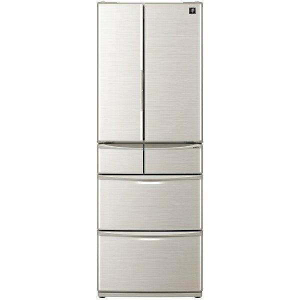 【標準設置費込み】 シャープ SHARP 《基本設置料金セット》6ドア冷蔵庫 (455L) SJ-F462D-S シルバー系
