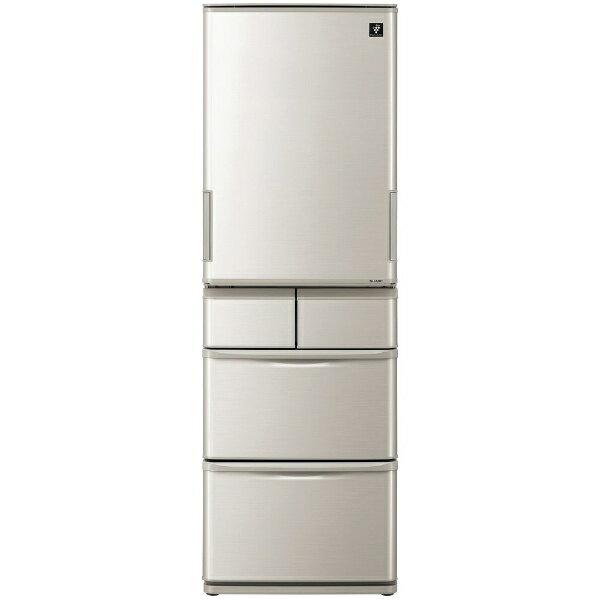 【標準設置費込み】 シャープ SHARP 《基本設置料金セット》5ドア冷蔵庫 (412L) SJ-W412D-S シルバー系