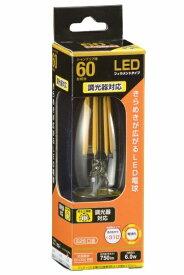 オーム電機 OHM ELECTRIC LDC6L/D C6 LEDフィラメント電球 クリア [E26 /電球色 /1個 /60W相当 /シャンデリア電球形 /全方向タイプ][LDC6L/DC6]