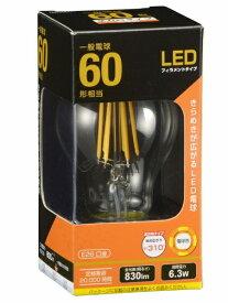 オーム電機 OHM ELECTRIC LDA6L C6 LEDフィラメント電球 クリア [E26 /電球色 /1個 /60W相当 /一般電球形 /全方向タイプ]