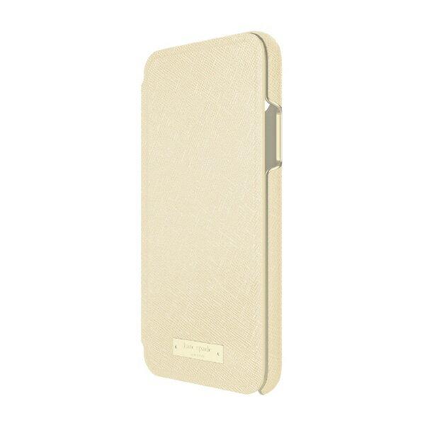 【送料無料】 FOX kate spade new york Folio Case for iPhone X - Saffiano Gold/Gold Logo Plate KSIPH-083-SGLD KSIPH-083-SGLD