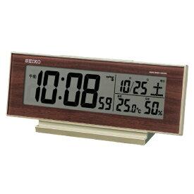 セイコー SEIKO 目覚まし時計 薄金色パール・一部木目模様 SQ788B [デジタル /電波自動受信機能有]