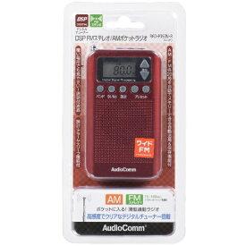 オーム電機 OHM ELECTRIC 携帯ラジオ AudioComm レッド RAD-P350N [AM/FM /ワイドFM対応][RADP350NR]