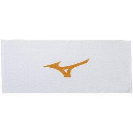 ミズノ 顔料プリントフェイスタオル(34×85cm/ホワイト×フレイムオレンジ) 32JY812054