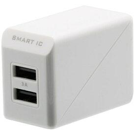OWLTECH オウルテック スマホ用USB充電コンセントアダプタ 3A (2ポート) OWL-ACU2F3S-WH ホワイト
