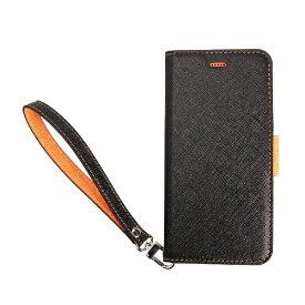 サンクチュアリ Sanctuary CoralloNU(エヌユー)合皮手帳型ケースforiPhone8Plus/7Plus/6sPlus/6Plus/ブラックオレンジ