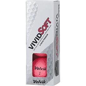 VOLVIK ボルビック 【スリーブ単位販売になります】ゴルフボール Volvik Vivid Soft《1スリーブ(3球)/ピンク》【オウンネーム非対応】 【代金引換配送不可】