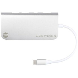 TUNEWEAR 0.12m[USB-C オス→メス SDカードスロット / micro SDカードスロット / HDMI / Mini DisplayPort / LAN / USB-Ax2 / USB-Cx1]3.0変換アダプタ TUN-OT-000041 シルバー[TUNOT000041]