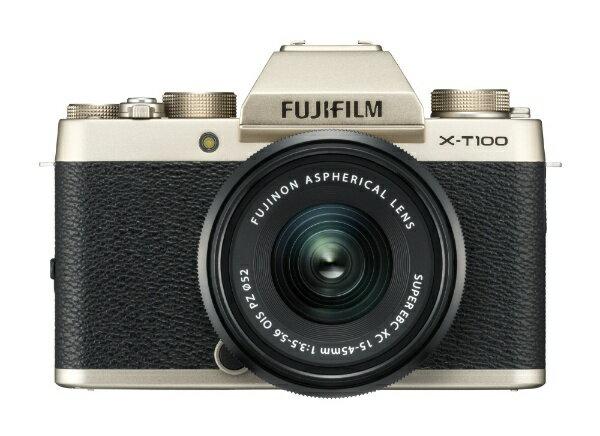 富士フイルム FUJIFILM FUJIFILM X-T100【レンズキット】(シャンパンゴールド/ミラーレス一眼カメラ)[FXT100LKG]
