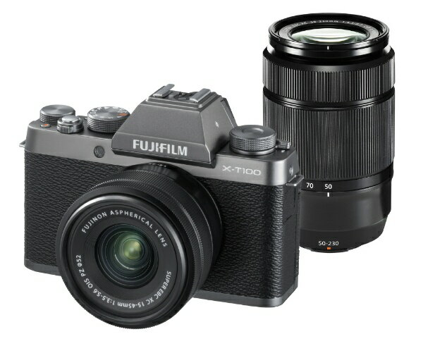 富士フイルム FUJIFILM FUJIFILM X-T100【ダブルズームレンズキット】(ダークシルバー/ミラーレス一眼カメラ)[FXT100WZLKDS]