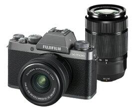 富士フイルム FUJIFILM F X-T100-DS ミラーレス一眼カメラ ダークシルバー [ズームレンズ+ズームレンズ][FXT100WZLKDS]