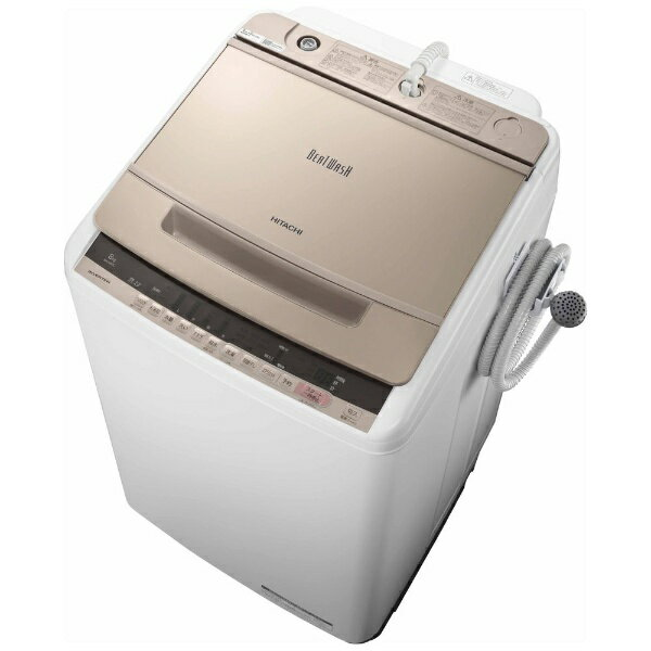日立 HITACHI 【8%OFFクーポン配布中! 03/20 23:59まで】BW-V80C 全自動洗濯機 ビートウォッシュ シャンパン [洗濯8.0kg /乾燥機能無 /上開き][BWV80C]【洗濯機】
