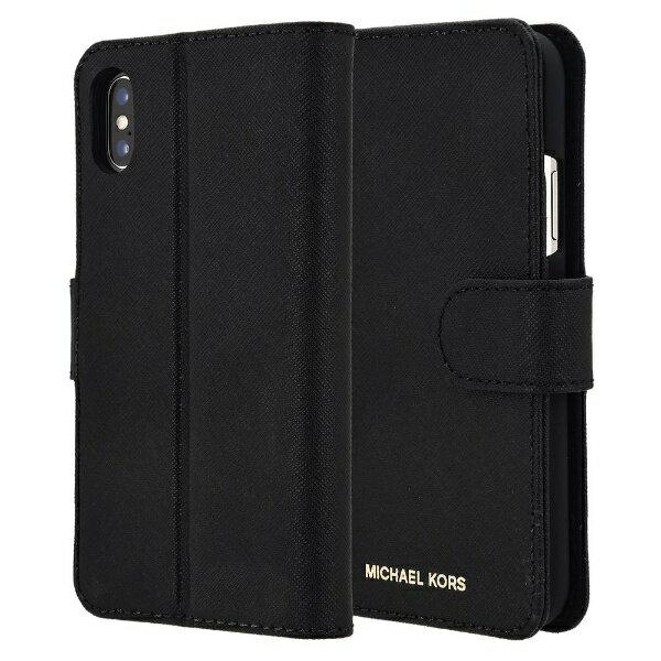 【送料無料】 マイケルコース MICHAEL KORS iPhone X Black Leather Folio 32H7GZ3L0L-001 ブラック 手帳型ケース 32H7GZ3L0L-001 ブラック