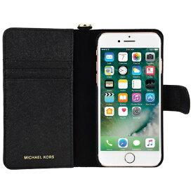 マイケルコース MICHAEL KORS iPhone 7/8 Black Leather Folio 32S7GZ3L4L-001 ブラック レザー手帳型ケース 32S7GZ3L4L-001 ブラック