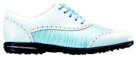フットジョイ FootJoy 22.5cm/靴幅:3E レディース スパイクレス ゴルフシューズ Tailored Collection(White×Blue Linen) #91687