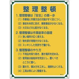 日本緑十字 JAPAN GREEN CROSS 緑十字 安全・心得標識 整理整頓 600×450mm エンビ