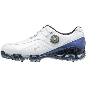 ミズノ mizuno 24.5cm メンズ ゴルフシューズ ジェネム008ボア(ホワイト×ブルー) 51GM1800
