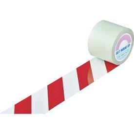 日本緑十字 JAPAN GREEN CROSS 緑十字 ガードテープ(ラインテープ) 白/赤(トラ柄) 100mm幅×100m