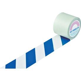 日本緑十字 JAPAN GREEN CROSS 緑十字 ガードテープ(ラインテープ) 白/青(トラ柄) 100mm幅×100m