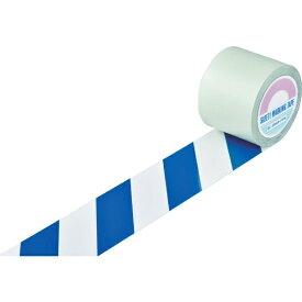 日本緑十字 JAPAN GREEN CROSS 緑十字 ガードテープ(ラインテープ) 白/青(トラ柄) 100mm幅×20m