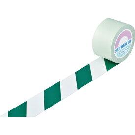 日本緑十字 JAPAN GREEN CROSS 緑十字 ガードテープ(ラインテープ) 白/緑(トラ柄) 75mm幅×100m