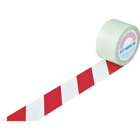 日本緑十字 JAPAN GREEN CROSS 緑十字 ガードテープ(ラインテープ) 白/赤(トラ柄) 75mm幅×20m