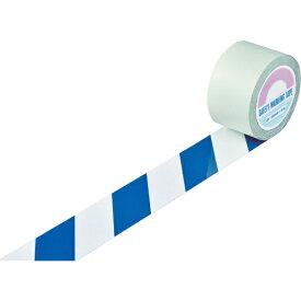 日本緑十字 JAPAN GREEN CROSS 緑十字 ガードテープ(ラインテープ) 白/青(トラ柄) 75mm幅×20m