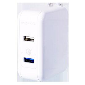 OWLTECH オウルテック スマホ用USB充電コンセントアダプタ Quick Charge 3.0とSmart IC搭載 2ポート OWL-ACQ3U254 ホワイト