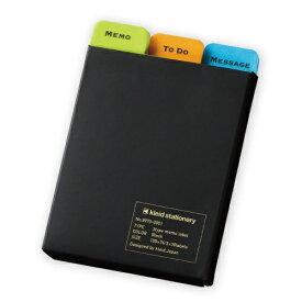 新日本カレンダー SHINNIPPON CALENDER [付箋]3タイプメモラベル(105×74mm・3種×各30枚) 8970 Black