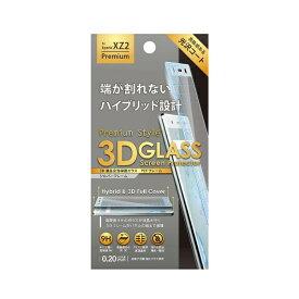 PGA XperiaXZ2 Premium用 3D液晶全面保護ガラス PETフレーム PG-XZ2PGL08SV シルバー