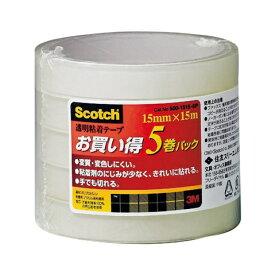 3Mジャパン スリーエムジャパン 透明粘着テープ 5巻パック(幅15mm×長さ15m) 500-1515-5P