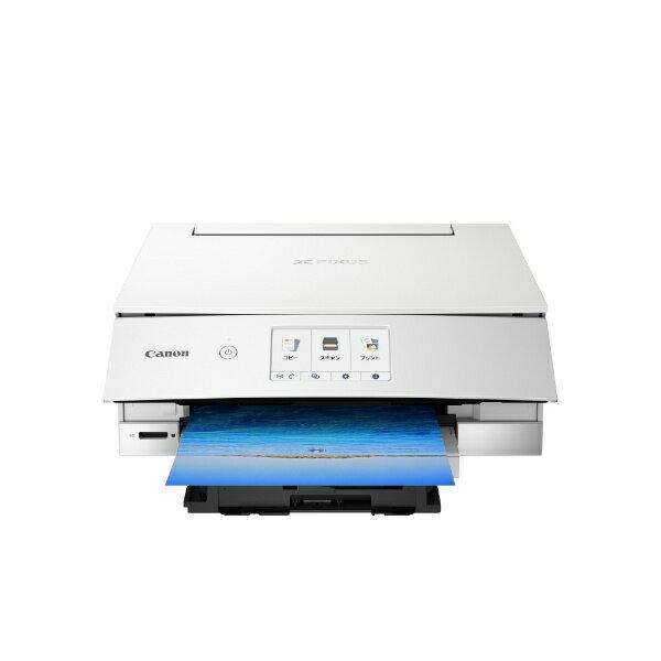 キヤノン CANON PIXUSTS8230WH インクジェット複合機 PIXUS(ピクサス) ホワイト [カード/名刺〜A4][PIXUSTS8230WH]【プリンタ】