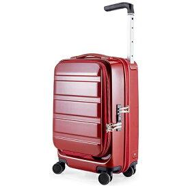 サンコー鞄 SUNCO LUGGAGE 静音大型双輪キャスター搭載 ハードスーツケース ACTIVE CUBE 03 (32L)レッド(機内持ち込みサイズ)