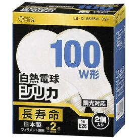 オーム電機 OHM ELECTRIC 【ビックカメラグループオリジナル】LB-DL6695W-B2P 白熱電球 長寿命 ホワイト [E26 /電球色 /2個 /100W相当 /一般電球形]