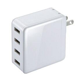 サンワサプライ SANWA SUPPLY スマホ用USB充電コンセントアダプタ(4ポート・合計6A) ACA-IP54W ホワイト