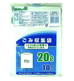 日本技研工業 NIPPON GIKEN INDUSTRIAL NZV-21容量表記半透明ごみ収集袋20L10P