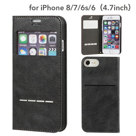 HAMEE ハミィ iPhone SE(第2世代)4.7インチ/ iPhone 8/7/6s/6専用 CERTA FLIP ケルタフリップ窓付きダイアリーケース 276-848456 チャコールブラック