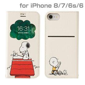 HAMEE ハミィ iPhone SE(第2世代)4.7インチ/ iPhone 8/7/6s/6専用 PEANUTS/ピーナッツ/フリップ窓付きダイアリーケース 276-895207 スヌーピー/タイプライター/オフホワイト