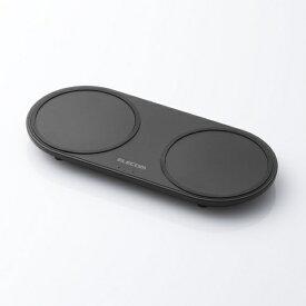 エレコム ELECOM ワイヤレス充電器 Qi対応 5W+5W 2台同時充電 卓上タイプ W-QA05BK ブラック [USB給電対応 /ワイヤレスのみ][WQA05BK]