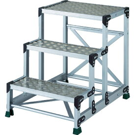 トラスコ中山 TRUSCO アルミ合金製作業台 縞鋼板 3段 高さ0.75m 600X400 【メーカー直送・代金引換不可・時間指定・返品不可】