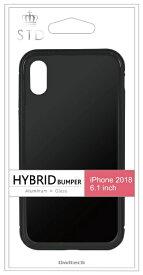 OWLTECH オウルテック iPhone XR 6.1インチ対応 ハイブリッド+ガラス背面ケース ブラック OWL-CVIA6113-BK